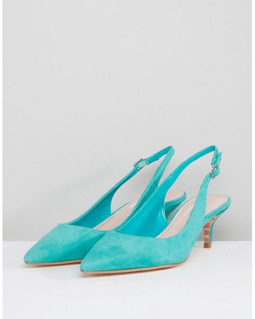 best prices cheap price clearance tumblr Dune Kitten Heel Sling Back Shoe in Teal Suede free shipping pay with visa sale best store to get Cheapest for sale tVTcZkh9Uj