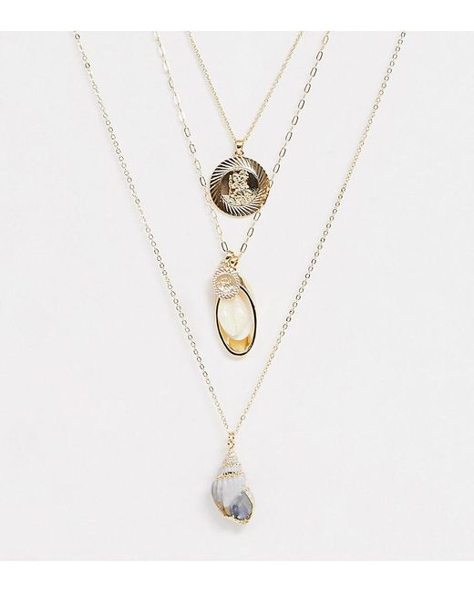 ASOS Metallic Asos Design Curve Multirow Necklace With Faux Shell And Vintage Style Charms In Gold