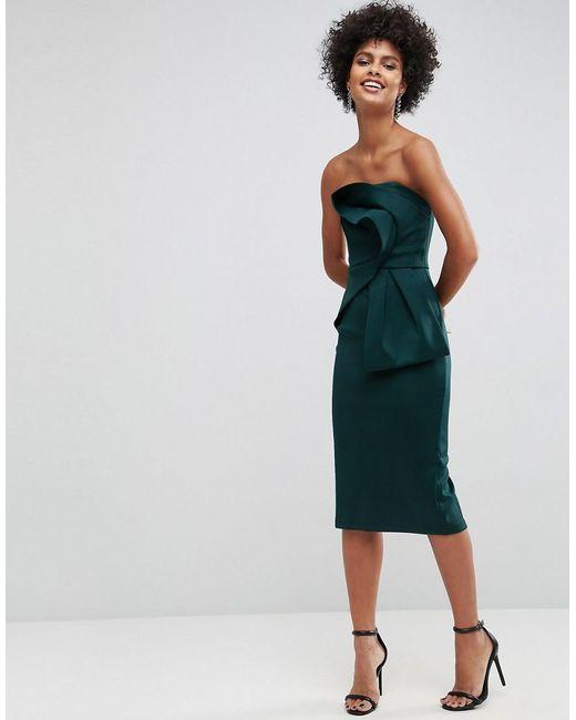 ASOS | Green Bandeau Fold Bow Front Scuba Midi Dress | Lyst