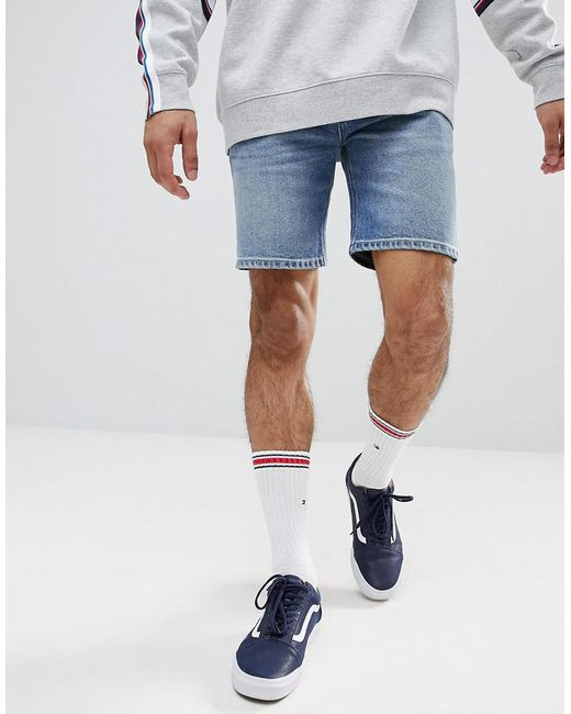 ASOS DESIGN - Blue Denim Shorts In Skinny Mid Wash for Men - Lyst