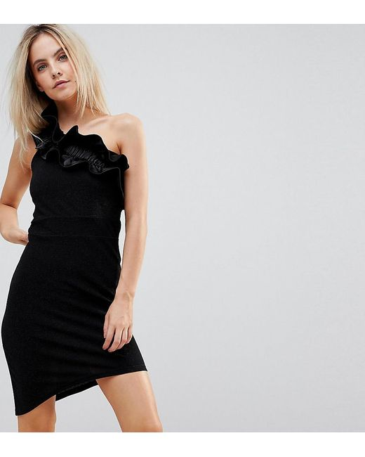 Vero Moda   Black Asymetric Dress With Ruffle Shoulder   Lyst