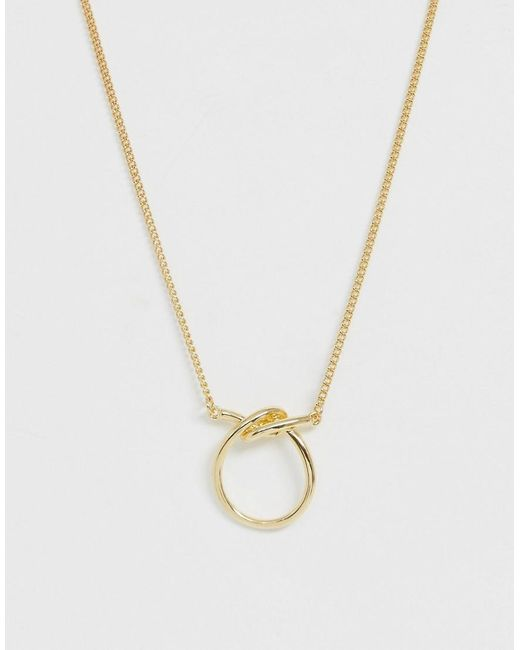 ASOS Metallic Necklace With Knotted Open Circle Pendant In Gold Tone