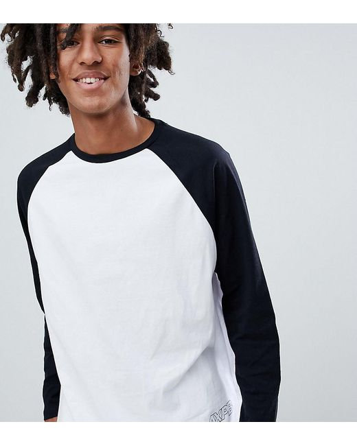 Pull&Bear - Exclusive Raglan Long Sleeve Top In White With Logo for Men - Lyst