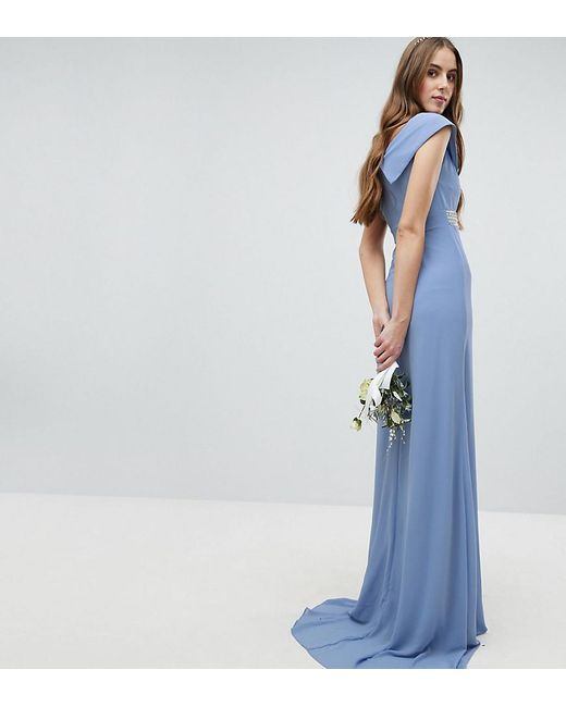 popular style clients first top-rated latest Women's Blue Bardot Maxi Bridesmaid Dress With Fishtail And Embellished  Waist