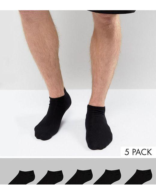 ASOS DESIGN - Sneaker Socks In Black 5 Pack Save for Men - Lyst
