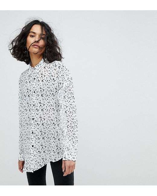 Reclaimed (vintage) - Multicolor Inspired Ruffle Sleeve Shirt In Star Print - Lyst