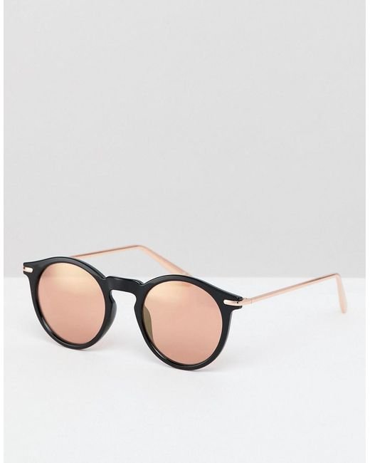 480675ad7 ASOS - Round Sunglasses In Black With Rose Gold Mirrored Lens for Men - Lyst  ...
