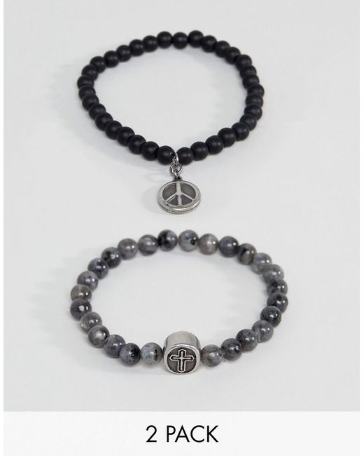 Seven London | Gray Black & Grey Beaded Bracelet In 2 Pack for Men | Lyst