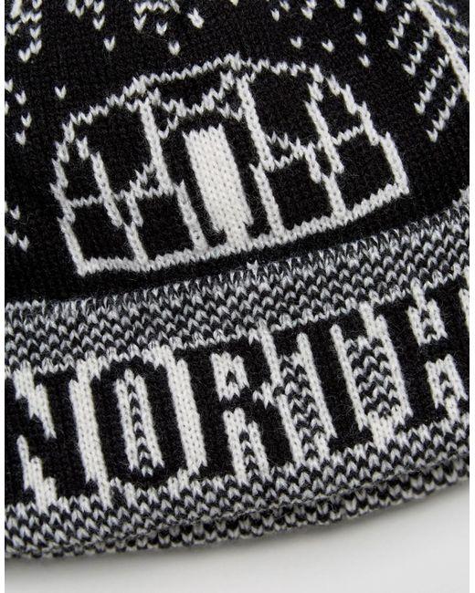 The north face Fair Isle Pom Pom Beanie Logo Dome In Black in ...