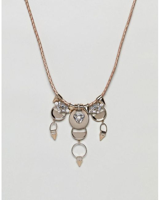 Missguided - Metallic Crystal Drop Collar Necklace - Lyst