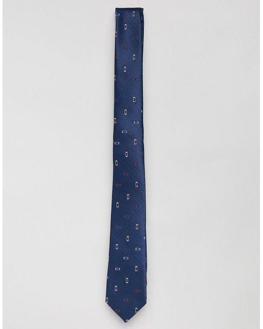 ASOS - Blue Slim Tie In Navy With Grid Design for Men - Lyst