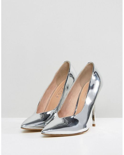 High Flyer High Vamp Pointed Shoes - Silver Office 48rYwCQdfz
