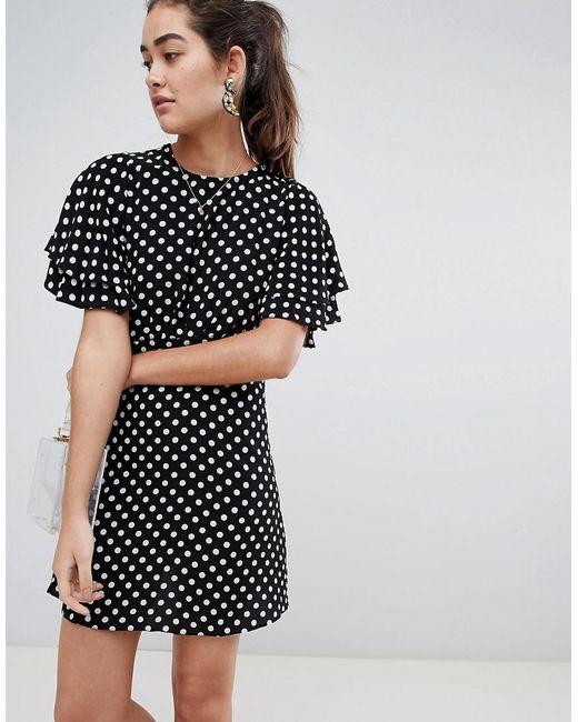 New Look - Black Spot Dobby Tea Dress - Lyst