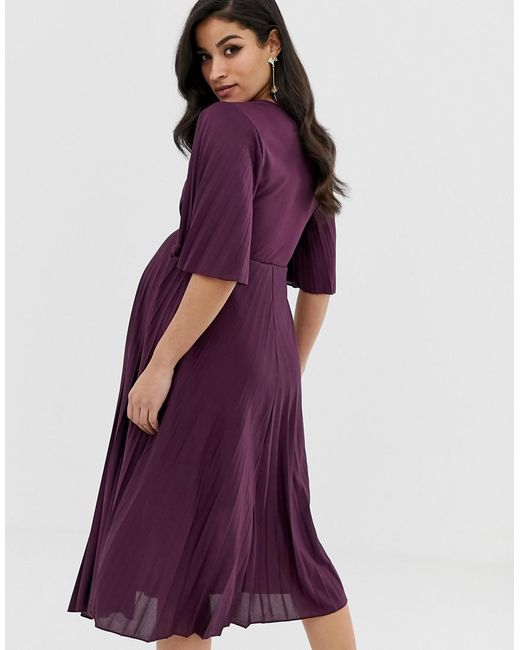 0d7dd3d32a7 ... ASOS - Purple Asos Design Maternity Kimono Pleated Midi Dress - Lyst