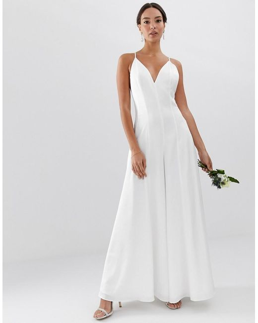 89e44587492 ASOS - White Plunge Cami Wide Leg Wedding Jumpsuit In Satin - Lyst ...