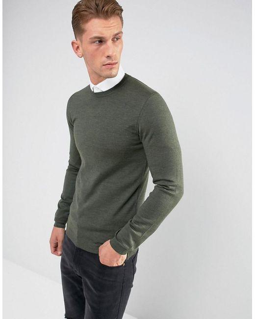 ASOS - Green Asos Muscle Fit Merino Wool Jumper In Khaki for Men - Lyst