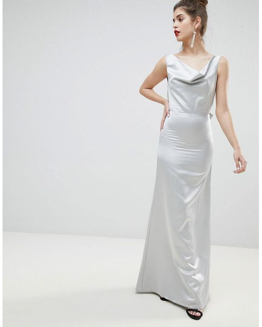 Sale Recommend Excellent For Sale Satin Bow Back Maxi Dress - Silver True Violet Buy Cheap Low Shipping Outlet Reliable Low Cost T2mMt
