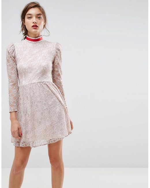 ASOS - Gray Asos Lace Puff Sleeve Mini Dress With Ribbon Neck - Lyst