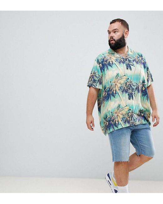 ASOS - Blue Plus Oversized Hawaiian Palm Tree Printed Shirt With Revere Collar for Men - Lyst