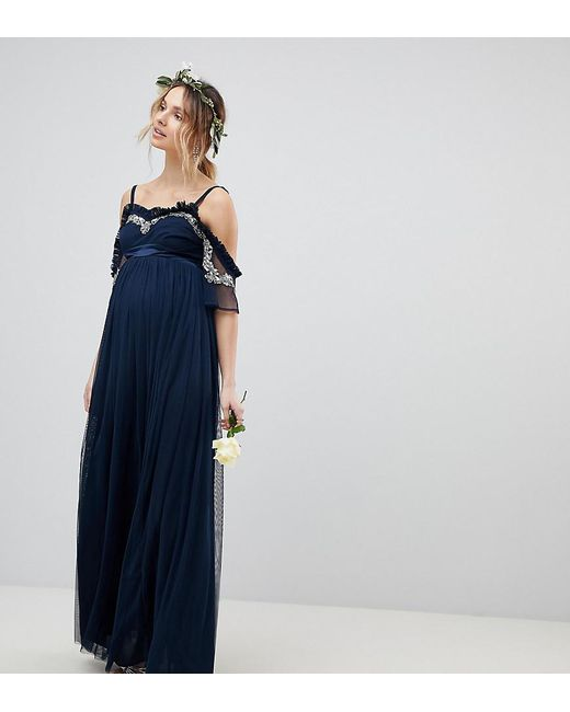 8760ee4f Maya Maternity - Blue Cold Shoulder Sequin Detail Tulle Maxi Dress With  Ruffle Detail - Lyst ...