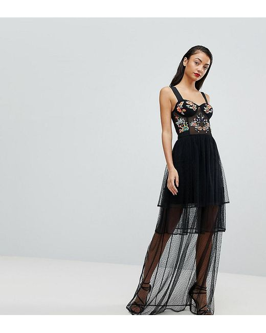 Lyst Asos Embroidered Corset Maxi Prom Dress In Black