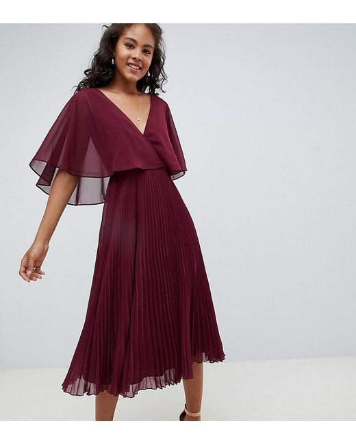 46d1d7298b ASOS - Purple Asos Design Tall Midi Dress With Pleat Skirt And Flutter  Sleeve - Lyst ...