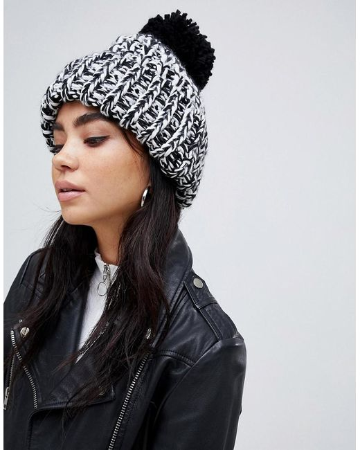 bda9a538bbe ASOS - Black Chunky Mix Knit Beanie With Pom - Lyst ...