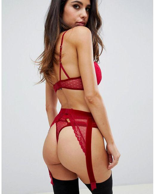 fa0b395c2cb50 ... ASOS - Red Emma Velvet & Lace Suspender - Lyst