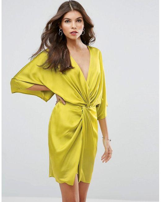 ASOS | Yellow Kimono Front Mini Dress | Lyst