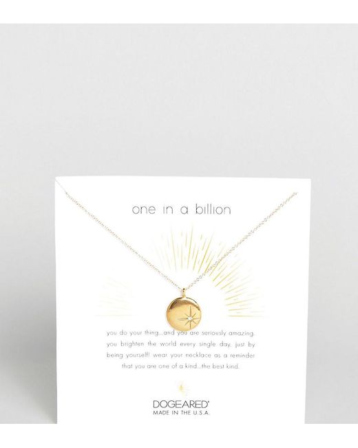 Dogeared   Metallic Gold Plated One In A Billion Sparkle Star Disc Necklace With Swarovski Crystal   Lyst