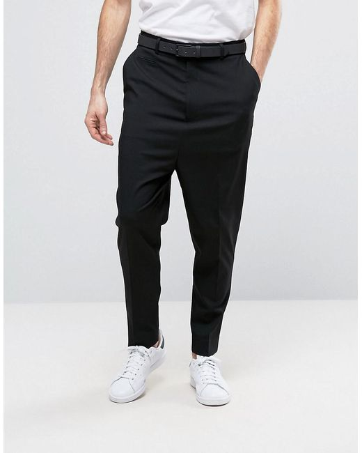 0953d2dcdfe2 Lyst - Asos Drop Crotch Trouser In Black in Black for Men