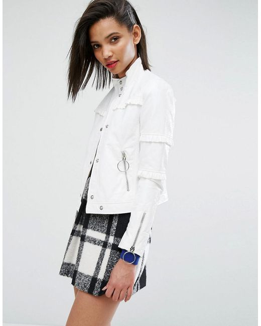 Mango - White Ring Pull And Ruffle Detail Jacket - Lyst