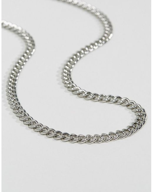 ASOS DESIGN - Metallic Midweight Chain In Silver Tone for Men - Lyst