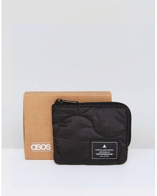 ASOS   Zip Around Wallet In Black Quilted Design   Lyst