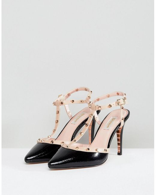 Dune London Catelyn Leather Studded Heeled Shoe in Black get to buy cheap online BgZFZBeOi