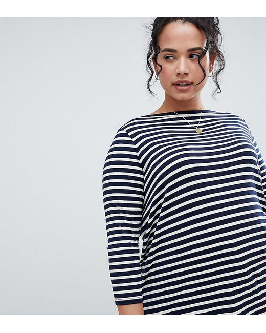 ASOS - Blue Asos Design Curve Stripe Slouchy Long Sleeve T-shirt - Lyst