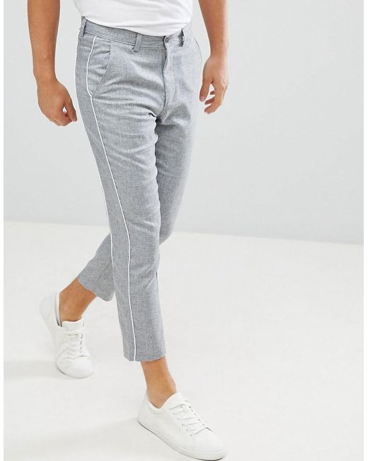 BoohooMAN - Gray Pantalon fusel avec passepoil for Men - Lyst