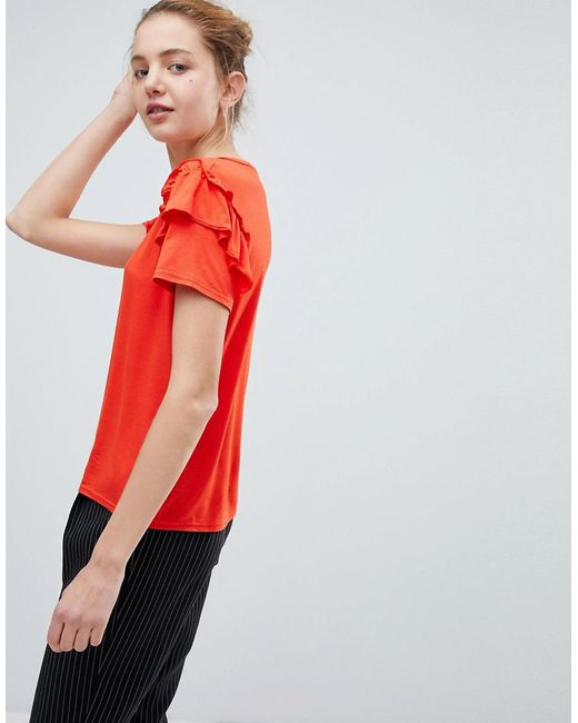 Daisy Street | Red Cute T-shirt With Ruffle Shoulders | Lyst