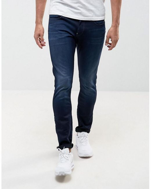 G-Star RAW | Blue Jeans Defend Super Slim Skinny Fit Slander Indigo Superstretch Dark Aged for Men | Lyst