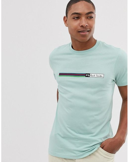 84e9e7ce PS by Paul Smith Block Stripe Slim Fit T-shirt In Mint in Green for ...