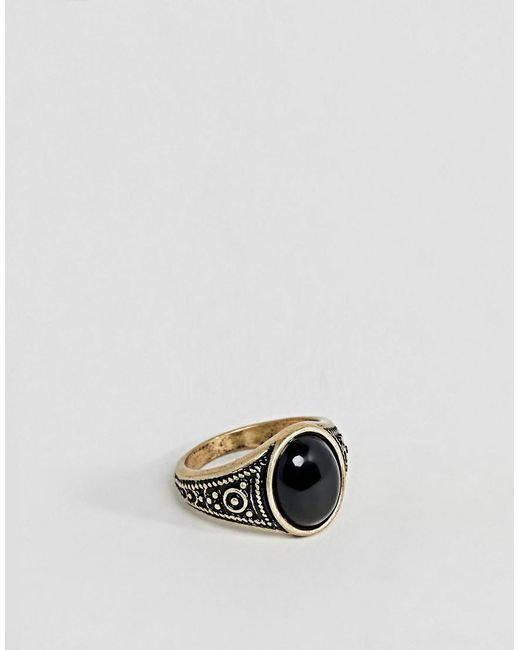 Asos DESIGN Chunky Pinky Ring In Gold - Gold au68YmFsuz