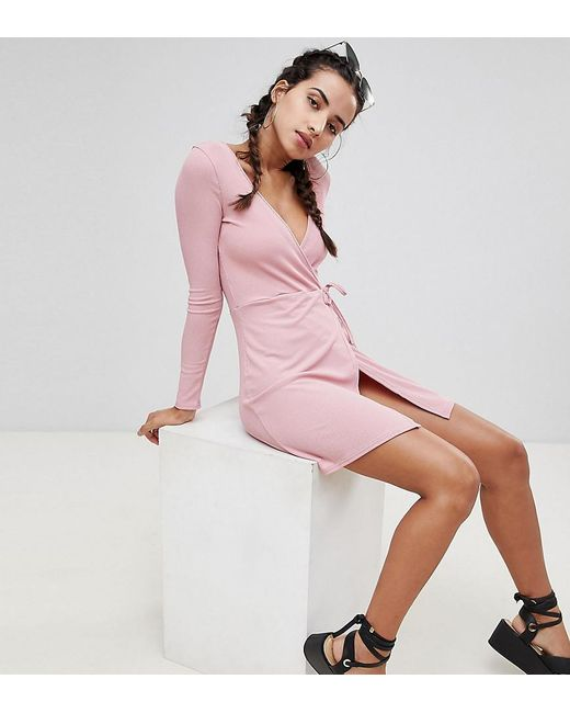 d3dcfc097c Boohoo - Pink Exclusive Ribbed Wrap Detail Dress - Lyst ...