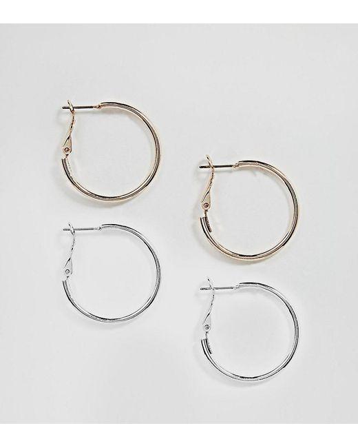 ASOS DESIGN - Metallic Two Pack Simple Hoop Earrings - Lyst