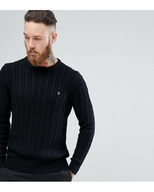 Lyst Farah Ludwig Cable Knit Jumper In Black In Black For Men