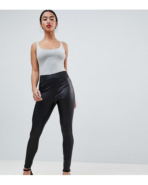 7a8d3f0c2e9f6 ASOS - Black Asos Design Petite Leather Look leggings With Elastic Slim  Waist - Lyst ...