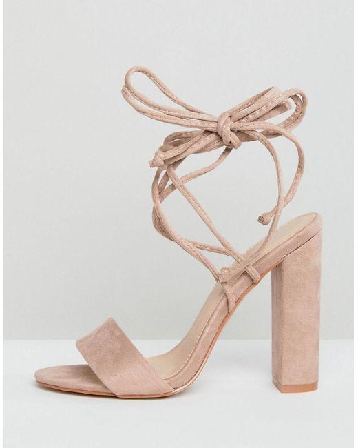 1bde2db5b76 ... Public Desire - Natural Suzu Tie Up Block Heeled Sandals - Lyst