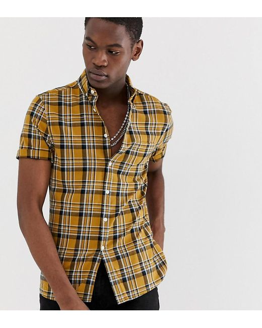 ad7d2ad3a992 ASOS - Yellow Tall Slim Fit Check Shirt In Mustard for Men - Lyst ...