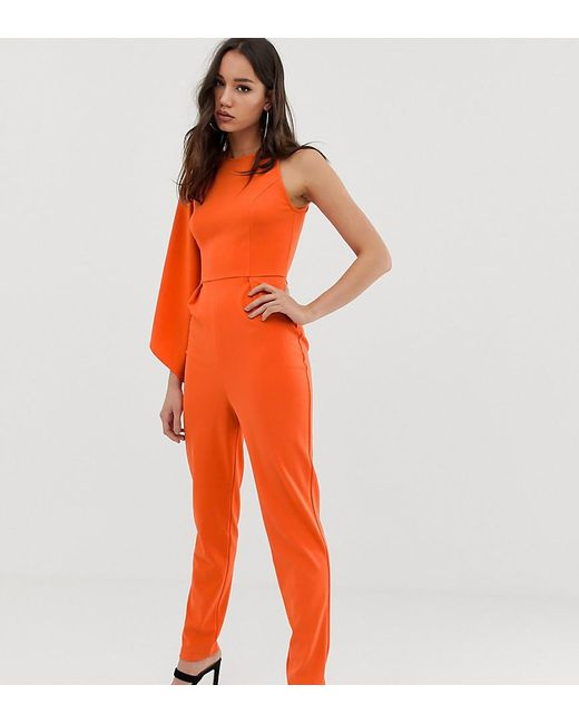 239fde7c241 ASOS - Orange Asos Design Tall One Shoulder Fluted Sleeve Jumpsuit - Lyst  ...