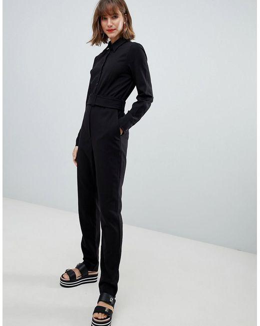 Mango - Button Front Tie Waist Boiler Suit In Black - Lyst