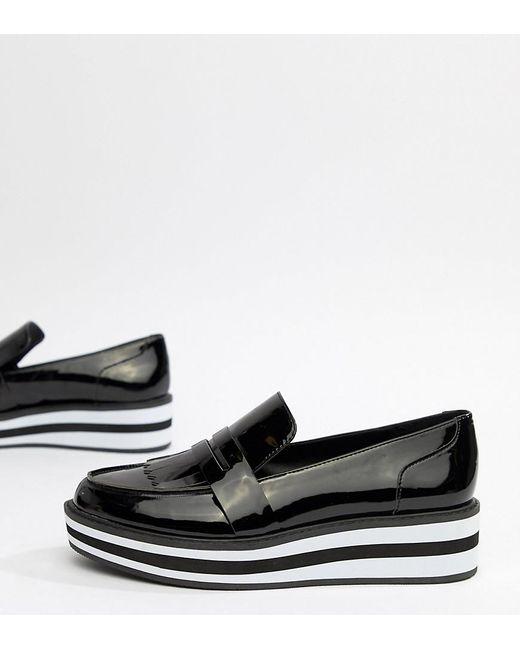 dcd76b108a6 Lyst - Monki Stripe Platform Loafer In Patent Black in Black